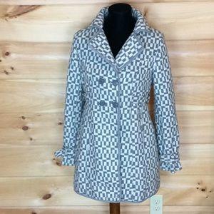 Tulle (Anthropologie) gray & white coat Medium